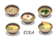 The Japanese noodle soup in bowls vector on white background. vector illustration