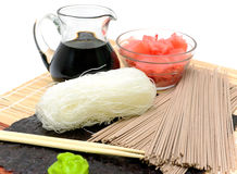 Japanese noodle, soy sauce and pickled ginger Stock Photo