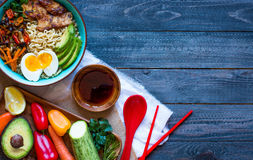 Free Japanese Noodles Bowl With Chicken, Carrots, Avocado Stock Photography - 78649742