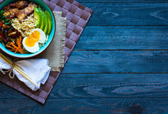 Free Japanese Noodles Bowl With Chicken, Carrots, Avocado Stock Photography - 78649952