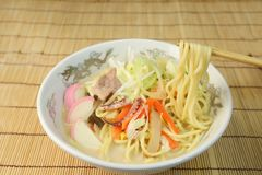 A Chinese-style hotchpotch originating in Nagasaki, called `chanpon`. It is the Japanese noodles dish of the Nagasaki mixture royalty free stock photography
