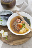 Japanese Noodles with prawns and tofu. Japanese Soba nuddles with prawns and tofu royalty free stock photo