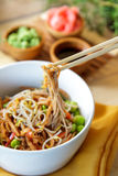 Japanese noodles served in white bowl Royalty Free Stock Photos