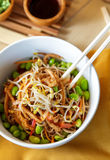 Japanese noodles served in white bowl Stock Image
