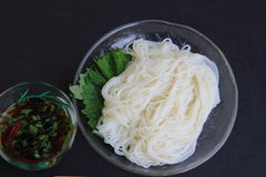 Japanese noodles to eat in the summer. Cold noodles to be cool to eat in the summer Royalty Free Stock Photo