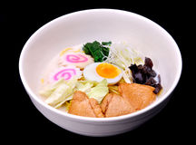 Japanese noodles in white pork bones soup Royalty Free Stock Images