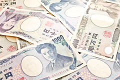 Japanese notes background Royalty Free Stock Photo