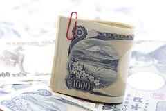 Japanese Notes, close-up Stock Photos