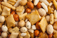 Japanese nuts. Mix of japanese rice nuts for background use Royalty Free Stock Photo
