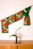 Japanese obi and ikebana Royalty Free Stock Image