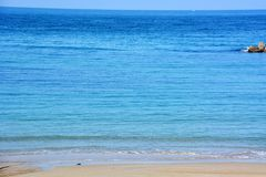 Japanese October Beach/Fukuok Ikinomathubara Beach. It is a famous beach with a white sand beach and a blue ocean Royalty Free Stock Photography