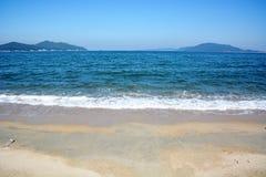 Japanese October Beach/Fukuok Ikinomathubara Beach. It is a famous beach with a white sand beach and a blue ocean Stock Photos