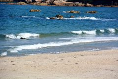 Japanese October Beach/Fukuok Ikinomathubara Beach. It is a famous beach with a white sand beach and a blue ocean. People who enjoy marine leisure in summer are royalty free stock photography