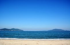 Japanese October Beach/Fukuok Ikinomathubara Beach. It is a famous beach with a white sand beach and a blue ocean. People who enjoy marine leisure in summer are stock photo