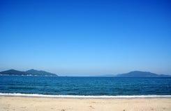 Japanese October Beach/Fukuok Ikinomathubara Beach. It is a famous beach with a white sand beach and a blue ocean Stock Photo
