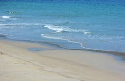 Japanese October Beach/Fukuok Ikinomathubara Beach. It is a famous beach with a white sand beach and a blue ocean. People who enjoy marine leisure in summer are royalty free stock image