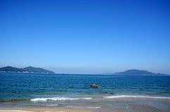 Japanese October Beach/Fukuok Ikinomathubara Beach. It is a famous beach with a white sand beach and a blue ocean Stock Photography