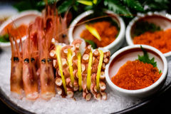 Japanese octopus and prawns seafood Royalty Free Stock Photography