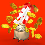Japanese Old Coins And Sheep On Red Background. 3D render illustration For The Year Of Sheep,2015. Isolated on Red vector illustration