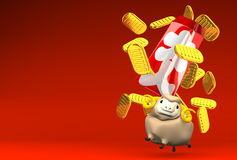 Japanese Old Coins, Sheep On Red Text Space. 3D render illustration For The Year Of The Sheep,2015 In Japan Royalty Free Stock Photo