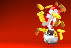 Japanese Old Coins, Sheep On Red Text Space. 3D render illustration For The Year Of The Sheep,2015 In Japan Stock Image