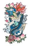 Japanese old dragon tattoo for arm.Hand drawn Dragon with peony flower,lotus,rose and chrysanthemum flower and water splash. Or Japanese wave traditional style Stock Photography