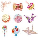 Japanese Old-fashioned toys royalty free illustration
