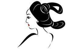 Japanese old hair style. A Japanese woman in old fashioned hair style vector illustration