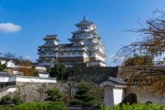 Japanese old Himeiji Castle. Beautiful scenery landscape at outdoor Royalty Free Stock Photography