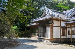 Japanese Old House located in Shizuoka, Japan. The house in Japan is usually made of wood and good air system for both summer and. Winter. In summer time royalty free stock images