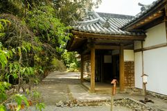 Japanese Old House located in Shizuoka, Japan. The house in Japan is usually made of wood and good air system for both summer and. Winter. In summer time royalty free stock photo