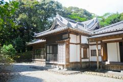 Japanese Old House located in Shizuoka, Japan. The house in Japan is usually made of wood and good air system for both summer and. Winter. In summer time stock photos