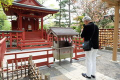 Japanese old men pay respect Stock Images