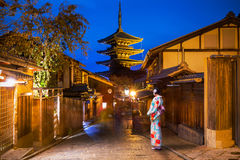 Japanese old town in Higashiyama District of Kyoto Stock Photos