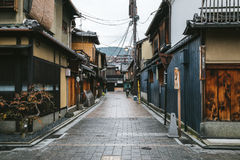 Japanese old traditional Gion street in rainy day in Kyoto, Japan Royalty Free Stock Images