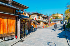 Japanese old traditional wooden house and street in Kyoto, Japan Royalty Free Stock Photo
