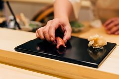 Japanese Omakase meal: Chutoro Sushi Medium Fatty Bluefin Tuna served by hand with pickled ginger on glossy black plate. Japanese traditional and luxury meal stock photography