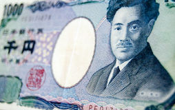 Japanese One Thousand Yen. A one thousand Yen banknote from Japan photographed at an angle with the renowned bacteriologist Hideyo Noguchi on the front Royalty Free Stock Photography