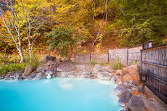 Japanese open air hot spring in japan. Japanese open air hot spring onsen in japan Royalty Free Stock Images