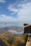 Japanese open air hot spring. (onsen royalty free stock photography