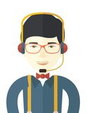 Japanese operator with headset as customer service Royalty Free Stock Photo