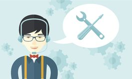 Japanese operator with headset as customer service. A japanese operator with headset as customer service helpdesk with screwdriver and combination wrench inside Royalty Free Stock Images