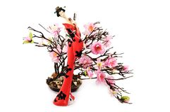 The Japanese and an Oriental cherry Royalty Free Stock Photo