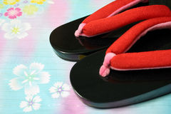 Japanese Oriental Cloth and Slippers. Japanese traditional clothing and slippers Royalty Free Stock Photo