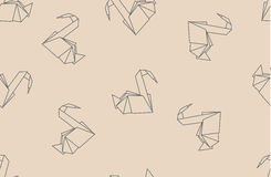 Japanese origami paper cranes seamless pattern. Royalty Free Stock Images
