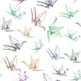 Japanese Origami paper cranes symbol of happiness, luck and longevity, sketch seamless pattern. purple blue brown green Stock Image