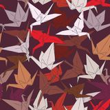 Japanese Origami paper cranes symbol of happiness, luck and longevity, sketch seamless pattern. purple orange red white pink on br. Own background. Vector Royalty Free Stock Photography