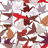 Japanese Origami paper cranes symbol of happiness, luck and longevity, sketch seamless pattern. purple orange red white pink brown. Isolated on white background Royalty Free Stock Photography