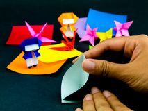 Japanese Origami Toys Folding Instructions How To Play Stock Images