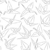 Japanese Origami white paper cranes set sketch seamless pattern, symbol of happiness, luck and longevity, black line contour on wh. Ite background. Vector Royalty Free Stock Photos